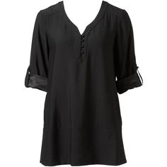 Forever New Diana deep band tunic (280 DKK) ❤ liked on Polyvore featuring tops, tunics, shirts, medieval, black, forever new, peasant tops, tunic style tops, black shirt and roll top