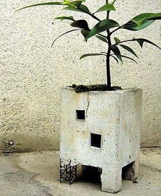 rustic building planter