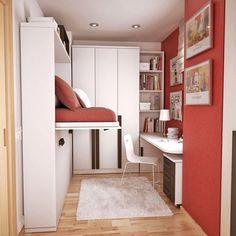 smart small teen room design with hidden bed Teen Room Designs, Small Bedroom Designs, Small Room Design, Kids Room Design, Office Designs, Design Bedroom, Office Ideas, Office Decor, Small Teen Room