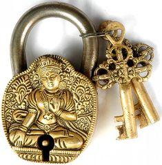 Tibetan Buddhist Goddess White Tara Temple Lock with Dorje Keys, Brass Brass and Iron