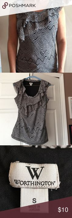 Worthington Ruffle Neckline Top Size S  ⭐️⭐️$10 Ruffle neckline sleeveless blouse of nylon and polyester in size small. Never wrinkles! Smart yet feminine. Lays attractively, not too clingy. Love this top! ⭐️⭐️ $10 Worthington Tops Blouses
