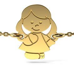 Bratara din aur galben cu medalion fetita este un cadou perfect pentru o proaspata mamica. Medalionul se poate grava cu initiala sau data nasterii.