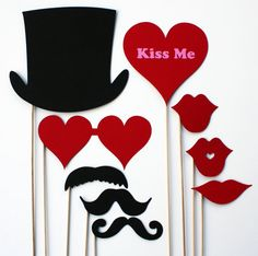 Valentines Day Photo Booth Props  9 Piece by BeBopProps on Etsy, $22.00