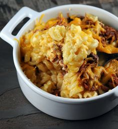 Mac and cheese as a side dish  It's BBQ pulled pork which is awesome. Then you put it on top of macaroni and cheese and then top with more cheese. What could be better?