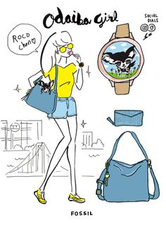 Odaiba Girl For The Fossil Event 2018 : illustration by Akiko Hiramatsu Odaiba, Fossil, Girly, Illustration, Comics, Funny, Painting, Fashion, Women's
