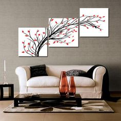 Hand Painted Modern Abstract Tree Painting Black And White Canvas Wall Art