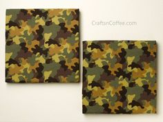 Perfect for a boys room -- DIY wall art made from camo bandanas. How to make wall art for a boys room from foam fabric