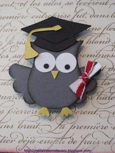 Beautiful memories for graduation in crafts - Summer Crafts, Crafts For Kids, Arts And Crafts, Paper Crafts, Graduation Cards Handmade, Graduation Crafts, Handmade Cards, Owl Punch Cards, Owl Card