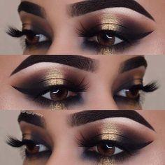 23 Glitzernde Silvester-Make-up-Ideen – Makeup For Beginners Gold Eye Makeup, Natural Eye Makeup, Eye Makeup Tips, Smokey Eye Makeup, Eyeshadow Makeup, Eyeliner, Makeup Ideas, Makeup Hacks, Makeup Brushes