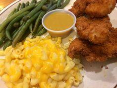Ladybird Diner -  Chicken Strips, Mac n Cheese, Green Beans, Bourbon Honey Dijon.