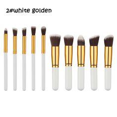 10pcs/set Pro Makeup Brushes Set Foundation Blending Powder Eyeshadow Concealer Blush eyebrow brush mini golden black design wh #Affiliate