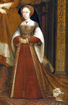 Jane Seymour from the Whitehall Dynastic painting originally by Hans Holbein the younger. Jane Seymour would've been in the early stages of her pregnancy when she stood for the original painting in 1536-37.