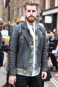 men's street fashion styles; leather and Boho layered shirt and tee for a sexy chic street style @men's' apparel