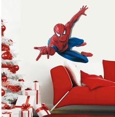 Lively spiderman removable wall sticker for your kids room