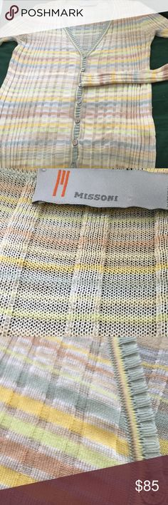 Missoni spring, summer sweater, 8 Missoni cotton & viscose made in Italy.  Can stretch greatly! Lovely spring colors reenact, yellow, cream, copper and more. Extra button. NWOT label loose on one side, size 8 US Missoni Sweaters Cardigans