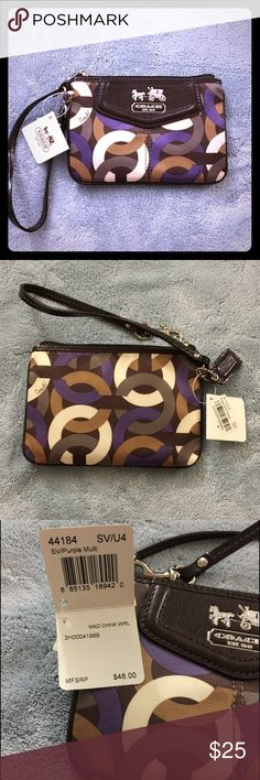 NWT Coach Madison Chocolate Purple Multi Wristlet NWT Coach Madison Chocolate Purple Multi Wristlet.  This was a gift and never used - sat in my Coach storage bin in the closet - it's time for someone to enjoy it other than my closet!😜 Retail $48 Coach Bags Clutches & Wristlets