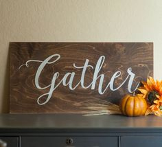 """Rustic """"Gather"""" Kitchen/Dining Room Wood Sign"""
