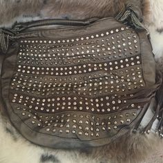 Bronze Stud Purse Studded bronze and brown purse 12.5 h x 16 l x 4 d Bags Shoulder Bags