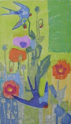 .'Swallows and Poppies' by Matt Underwood (woodblock print)