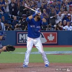 Epic home run and bat flip by Jose Bautista. The Toronto Blue Jays were down 2-0 to the Texas Rangers in the ALDS series, and they fought back to 2-2 to force a winner take all game 5. Down 3-2 in the 7th inning, the Jays tied it up 3-3 and then Jose Bautista crushed a 3-run home run off of Sam Dyson. The Jays would win 6-3 and advance to the ALCS versus Kansas City. October 14, Love Ryan Goins, too! 2015.#comeTOgether. Baseball. Vine by MLB