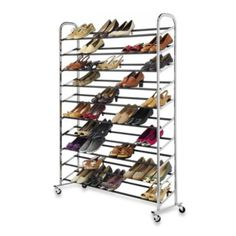 60-Pair Rolling Shoe Rack in Chrome - Bed Bath & Beyond