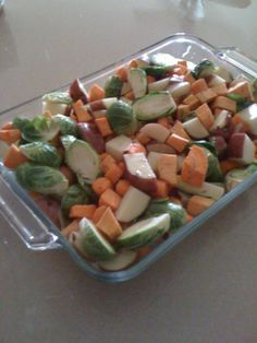 Brussel Srouts, sweet potatoes, carrots, and red potatoes (My kids love this!)