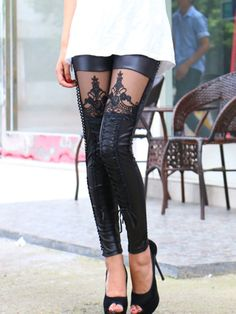 Black Lace-up PU Leggings With Lace Panel (I own these and love them!)