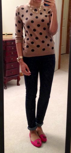 polka dot sweater, skinny jeans, colorful loafers, casual outfit. Could do this..