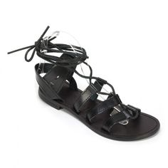 """Rich+Italian+leather+lace+up+flat+with+leather+sock+and+sole.++The+lengthy+laces+loop+through+the+upper+so+you+can+adjust+the+entire+sandal+to+your+liking.+Let+the+boardwalk+be+your+battlefield+as+you+bring+out+your+inner+warrior+princess.+Heel+height:+.5"""""""