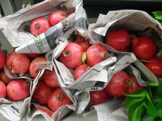 bundles of dried pomegranates...great for decorating...from inthegarden.marthastewart.com