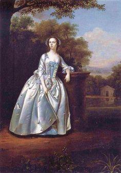 Arthur Devis (English artist, 1712-1787) Mrs Edward Travers in a landscape garden