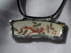 Broken China Pendant - Colorful Bird by MagicMoonMavis for $14.00
