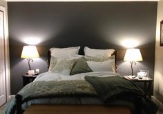 dark grey accent wall for master bedroom. behr dark ash Jared and I just got this today for our bedroom accent wall! LOVE!