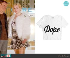 Chanel 5's Dope top and houndstooth skirt on Scream Queens.  Outfit Details: https://wornontv.net/60009/ #ScreamQueens
