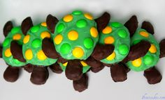 """""""Turtle Snicker Bites"""" would be a yummy treat to prepare for your students after reading """"Esio Trot"""" by Roald Dahl. Yummy Treats, Sweet Treats, Yummy Food, Fun Food, Yummy Cookies, Turtle Party, Turtle Birthday, 2nd Birthday, Turtle Cookies"""