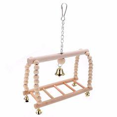 1pc Pet Bird Swing Ladder 18x10.5x29cm Suspension Bridge Climb Parakeet Budgie Parrot Hammock Toy