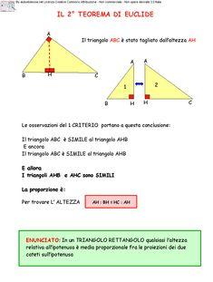 Il 2^ Teorema di Euclide Math Tutor, Maths, Math For Kids, Math Lessons, First Step, Problem Solving, Teacher, Studying, Homework