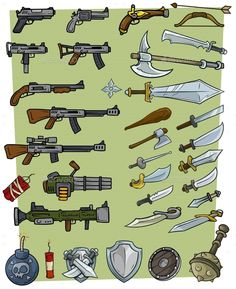 Buy Cartoon Big Weapons and Explosive Game Icons Set by GB_Art on GraphicRiver. Cartoon big weapons and explosive vector game icons set. Firearms and steel weapon. Guns and swords. Dynamite and bomb. Web Design, Prop Design, Game Design, Flat Design, Icons Web, Lucas Arts, Vector Game, Phone Screen Wallpaper, Pixel Games