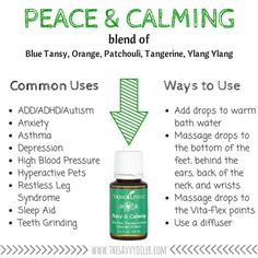 Young Living Peace & Calming Essential Oil Blend www.thelivingdrop for more o Calming Essential Oils, Essential Oil Uses, Young Living Essential Oils, Yl Oils, Young Living Oils, Diys, Oil Diffuser, Diffuser Blends, Aromatherapy
