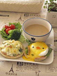 Chicken egg for breakfast ~ ヒヨコちゃんの★エッグベネディクト♡     #food #bento