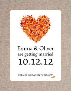 Autumn/Fall Heart of Leaves Save the Date by silentlyscreaming, $5.00