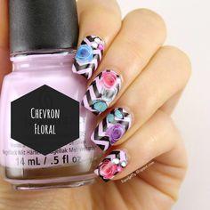 Liquid Jelly: [Nail Art] Chevron Floral