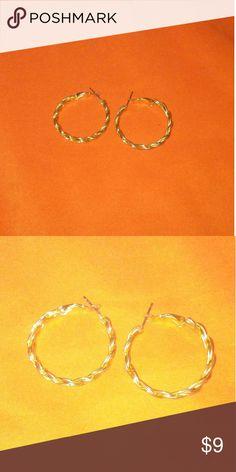 Braided gold hoops! Medium size hoops, worn only a few times, like new, very elegant earrings! Jewelry Earrings