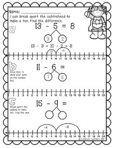 This packet includes: Lesson worksheet (How-to) Three worksheets that practice the skill of breaking apart a number to make ten and subtract using number bonds. 1st Grade Math Worksheets, First Grade Activities, First Grade Math, Math Exercises, Fun Math, Maths, Math Sheets, Making Ten, Numbers Kindergarten