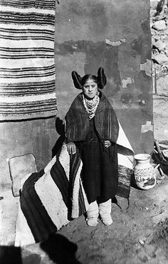 Portrait of a Hopi maiden at the Pueblo of Walpi Undated photograph