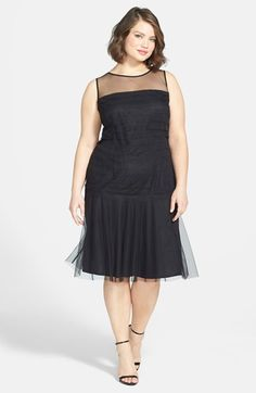 London Times Illusion Mesh Drop Waist Dress (Plus Size) available at #Nordstrom