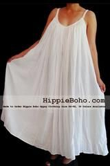 No.015 - Size XS-5X Hippie Boho Clothing Gypsy White Plus Size Strap Summer Maxi Dress, S,M,L,1X,2X,3X,4X,5X Dress - U.S. S I Z E 12 - 14 ( S i z e L )