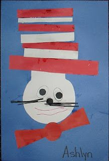 SHAPES and Cat in the Hat: oval eyes, circle head/eyes/nose/tie, rectangle hat/whiskers, triangle tie