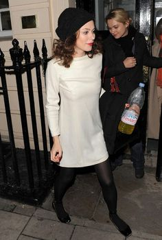 Anna Friel leaves Theatre Royal Haymarket in cool white dress, black stockings and crucial cap/hat combo <3