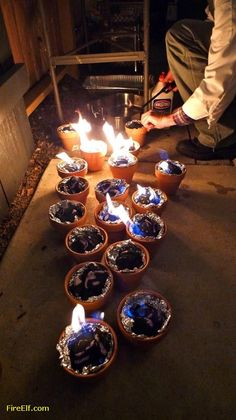 Light Charcoal In Terracotta Pots Lined With Foil For Tabletop S'mores. Fun Backyard Camping/party Idea